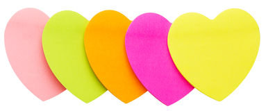 Multi coloured paper hearts. Isolated on white stock photo