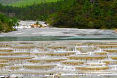 Multi-coloured Ponds. China's natural landscape in guizhou stock photos