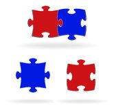Multi-coloured puzzles on a white background Royalty Free Stock Images