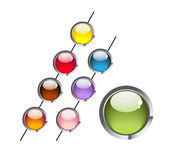 Multi-coloured round aqua buttons Royalty Free Stock Photos