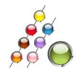 Multi-coloured round aqua buttons stock illustration