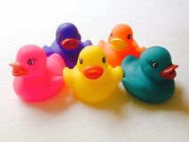 Multi-coloured rubber ducks Royalty Free Stock Images