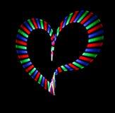 Multi-coloured shone heart on black. Background. Love symbol vector illustration