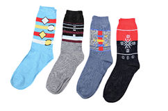Multi-coloured socks. On a white background royalty free stock image