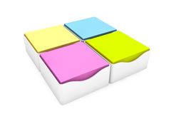 Multi Coloured Sticky Notes Stickers with a Holder Cases. On a white background Royalty Free Stock Images