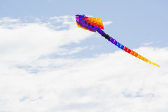 Multi Coloured Stingray Kite at the Adelaide International Kite. Semaphore, South Australia, Australia - April 15, 2017: Flying rainbow coloured figure kite royalty free stock photos