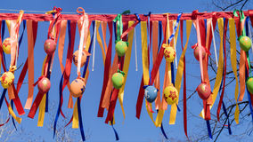 Multi-coloured street decoration for Easter Royalty Free Stock Photos