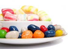 Multi-coloured Sweets Of Two Kinds In A Plate Stock Images