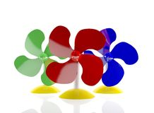 Multi-coloured table fans Stock Photos