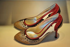 Multi coloured trendy female shoes Stock Images