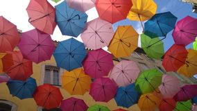Multi coloured umbrellas in Carcassonne royalty free stock images