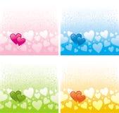 Multi-coloured Valentijnskaarten Stock Afbeeldingen