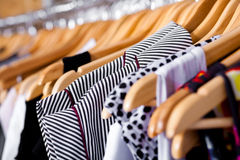 Multi-coloured wardrobe showcase, closeup Royalty Free Stock Images