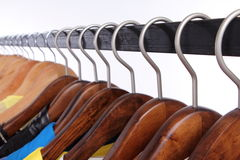 Multi-coloured wardrobe showcase, closeup Stock Photo