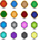 16 multi-coloured web of elements. 16 multi-colored buttons with metallic elements and shadow on a white background stock illustration