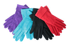 Multi-coloured woollen gloves Stock Photo