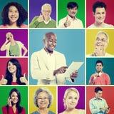 Multi concetto di comunicazione di Digital della gente del gruppo etnico Immagine Stock