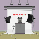 Multi cooker in photo studio. Hot price advertisement. Multi cooker in photo studio. Flat  illustration Stock Photo