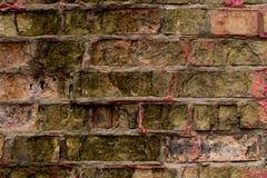 Multi-cor velha e parede de tijolo do grunge Fundo do vintage Texturas antigas na cidade pequena Foco seletivo imagens de stock royalty free