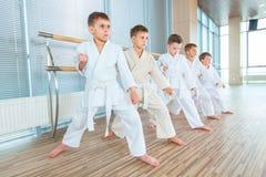 Multi crianças éticas novas, bonitas, bem sucedidas na posição do karaté fotos de stock royalty free