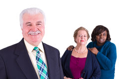 Multi-Cultural Company Team. Multicultural Company Senior Team giving trusty pose Stock Photos