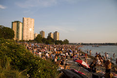 Multi-cultural crowd gathers at Sunset, Vancouver Royalty Free Stock Photography