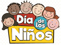 Multi-cultural Kids Celebrating Children`s Day with Spanish Greeting, Vector Illustration Stock Photo