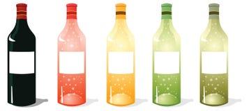 Multi de Flessenpak van de Kleurenwijn stock afbeeldingen