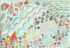 Multi-dimensional figures in space. The picture is made by multi-color pencils on paper. The image size is about A4 Stock Photos