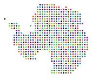Multi Dot Antarctica Map colorido ilustração stock