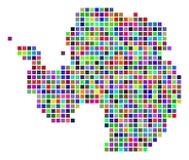 Multi Dot Antarctica Map colorido ilustração royalty free