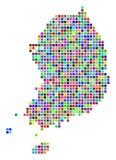 Multi Dot South Korea Map colorato illustrazione di stock