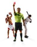 Multi encaixotamento do basebol do futebol da colagem do esporte Foto de Stock