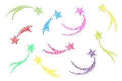Multi estrelas feitas malha coloridas de queda ajustadas As estrelas de tiro isolaram o fundo branco Bordado dos ícones dos meteo ilustração royalty free