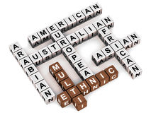 Multi ethnic. Crossword words on clean white background diverse business genetic pool is key to corporate success Stock Photography