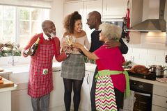Multi-ethnic adult family embrace and make a toast with champagne to celebrate on Christmas Day while preparing dinner together in. The kitchen royalty free stock photo