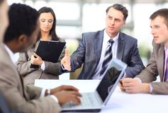 Multi ethnic business executives stock images