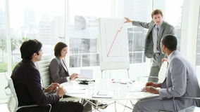 Multi ethnic business people coworkers interacting in a meeting stock footage