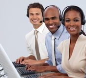 Multi-ethnic business people in a line royalty free stock photography