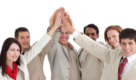 Multi-ethnic business people showing positivety Stock Photography