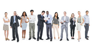 Multi-Ethnic Business People Working in a Row Royalty Free Stock Photos