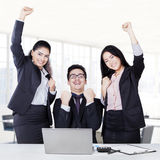 Multi ethnic business team celebrate their success Royalty Free Stock Photography