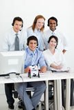Multi-ethnic business team with headset on Royalty Free Stock Photos