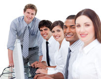 Multi-ethnic business team at work Stock Image