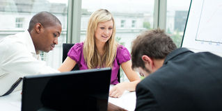 Multi-ethnic business team working in an office Stock Photo