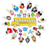 Multi-Ethnic Children Forming a Circle with School Concepts Royalty Free Stock Photos