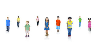 Multi-Ethnic Children in a Row Smiling Stock Images