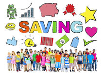Multi-Ethnic Children with Savings Concept Royalty Free Stock Photography