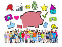 Multi-Ethnic Children with Savings Concept Stock Photography