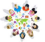 Multi-Ethnic Children with World Concepts Royalty Free Stock Image